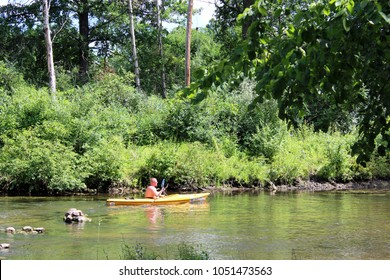 Milford, MI/USA: July 29, 2017 – Man in colorful yellow kayak paddles on the Huron River Water Trail, a 104 mile inland paddling trail in the Lower Peninsula of Michigan.