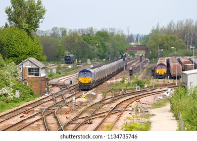 MILFORD, NORTH YORKSHIRE, UK - MAY 15, 2014: GBRf Class 66 No. 66751, one of two Beacon Rail owned loco's that were previously in use on the European mainland, heads south through Milford Junction.