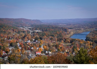 Milford, PA, and the Delaware River from scenic overlook on a sunny fall day