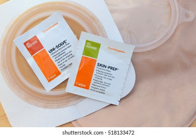 MILFORD, PA - NOVEMBER 18,2016: Necessary skin prep supplies for colostomy care with a colostomy bag and wafer