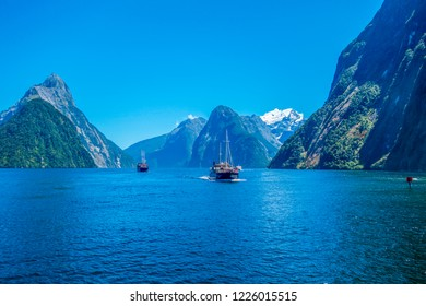 Milford Sound, New Zealand. Beautiful scenery with boats