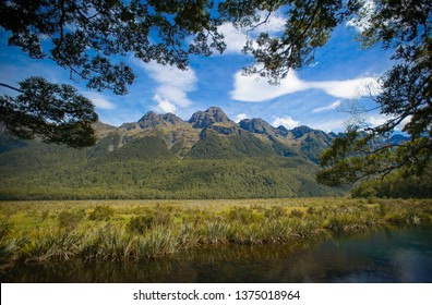 Milford Sound , New Zealand, Feb 12th, 2019: Mirror Lakes at Fiordland National Park, The South Island, New Zealand