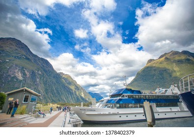 Milford Sound, New Zealand, Feb 11th, 2019: Milford Sound in New Zealand, which is considered one of the great wonders of the world because of how beautifully the land has been carved by glaciers.