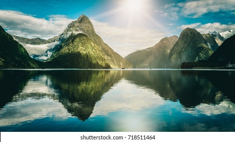 Milford Sound, New Zealand. - Mitre Peak is the iconic landmark of Milford Sound in Fiordland National Park, South Island of New Zealand.