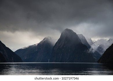 Milford Sound in stormy weather, New Zealand.