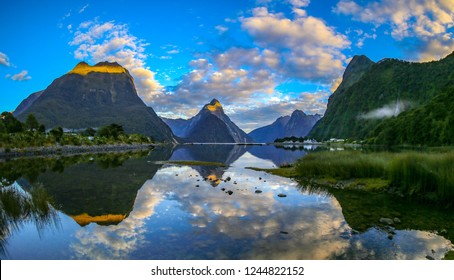 Milford Sound sunrise on the South Island of New Zealand