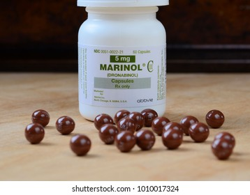 MILFORD,PA - JANUARY 25,2018: Closeup of Marinol bottle - Marinol is a synthetic form of marijuana, used to treat loss of appetite and nausea associated with strong chemotherapy cancer treatments.