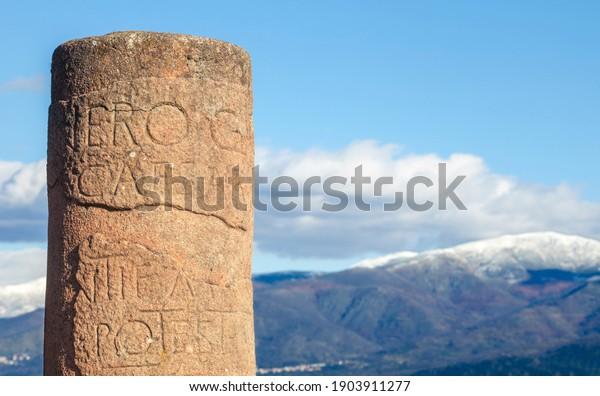 Miliarium en la ciudad romana de Caparra, Cáceres, Extremadura, España
