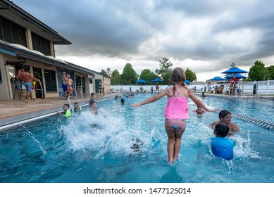 MILILANI, HAWAII - AUG 10:  Scene at a community recreation center swimming pool on August 10, 2019.
