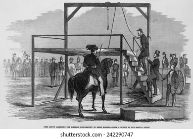 Militant abolitionist, John Brown (1800-1859), ascending the scaffold to be hung for leading the Harper's Ferry insurrection. December 2, 1859.