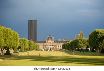 Military academy at Champ de Mars in Paris at dusk in summer