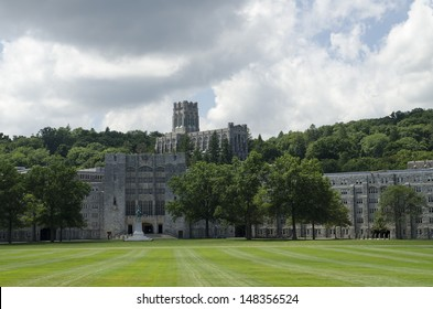 The Military Academy at West Point, New York. Parade grounds in foreground.
