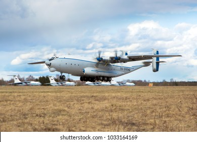 Military Air Base / Russia - 05.25.2017. Cargo plane Antonov 22 «Antei» (AN-22) of Russian Air Force takes off from airport runway.