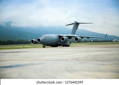 Military aircraft Landing at a military airport.