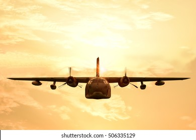Military aircraft on flying during sunset.
