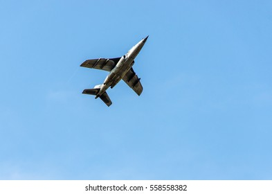 Military airplane fighter jet ,army aircraft flying on blue sky