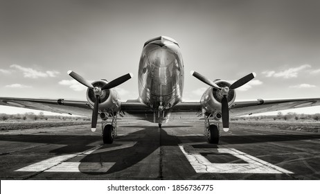 military airplane on a runway