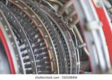 Military airplane turbine close-up