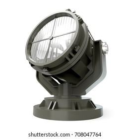 military antiaircraft searchlight isolated on white. 3d illustration