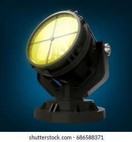military antiaircraft searchlight at night. 3d illustration