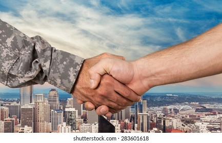 Military, Armed Forces, Handshake.