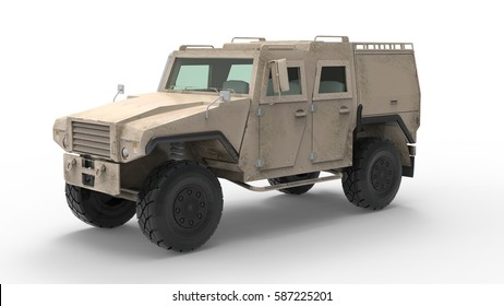 Military armored vehicle. 3D Rendering.