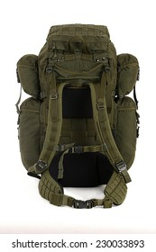 Military backpack isolated on white. Big size. Back view.