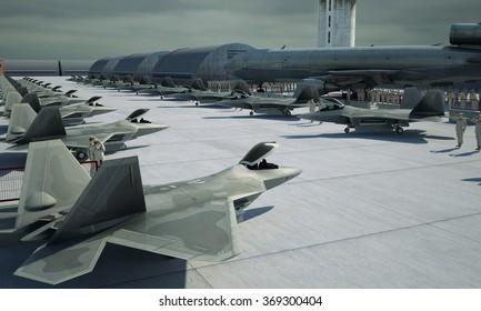Military base, bunker, hangar. american military fighter plane jet F-22 raptor