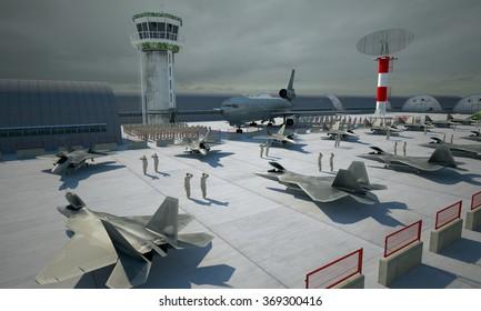 Military base, bunker, hangar. american military fighter plane jet F-22