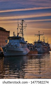 Military boats in the harbor of Wismar on the Baltic Sea.