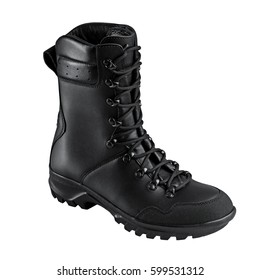 Military boots, black, on a  white background