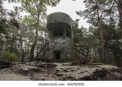 Military bunker in the forest on the Hel, Poland