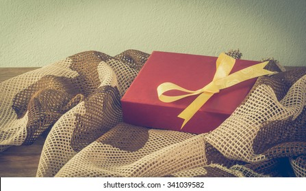 Military camouflage fabric gift box on Christmas Day.