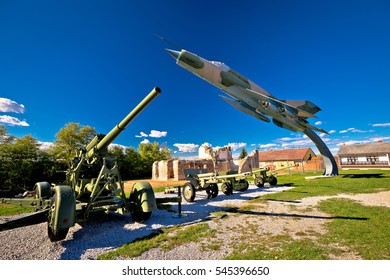 Military cannon and fighter jet with sun rays view, Karlovac, Croatia