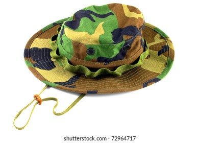 Military cap for soldiers which use in jungle and desert on a white
