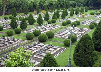 Military cemetery in Dien Bien Phu, Vietnam. DBP is a city in northwestern Vietnam, best known for the battle during the First Indochina War.