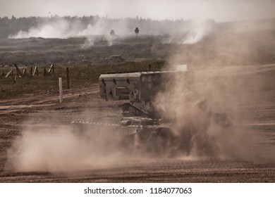 military center Alabino, Moscow region / Russia-August 24, 2018: Heavy Russian military equipment on military exercises in the military center. Heavy Flamethrower System TOS-1 on the battlefield