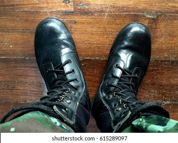 Military combat boots on duty