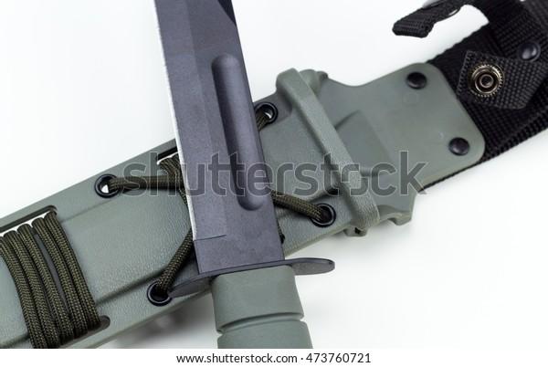 Military Combat Knife Cross Pattern Kabar Stock Photo (Edit