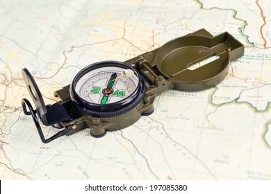 Military Compass on a Map