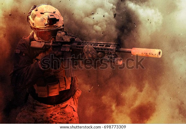 Military Contractor or Soldier in Dusty Explosion Aiming Down His Sights, Military Simulation, Milsim, Airsoft