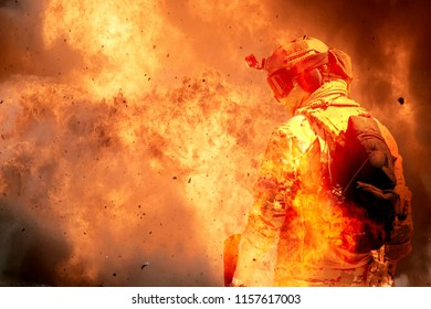 Military Contractor or Soldier in Dusty Fiery Explosion , Military Simulation, Milsim, Airsoft