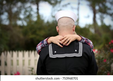 Military couple showing their love and affection for each other.