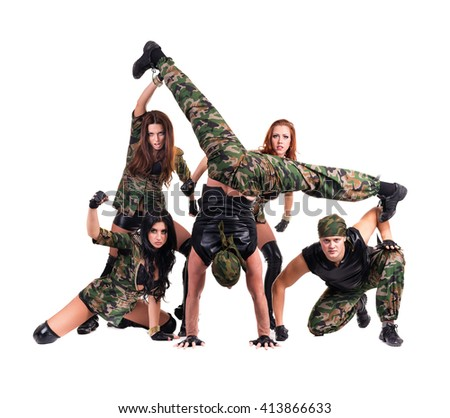 c612e9a9019b Military Dancer Team Dressed Camouflage Costumes Stock Photo (Edit ...