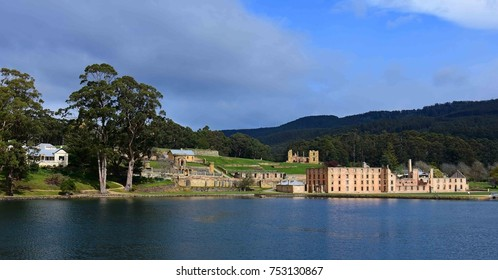 the military district and ruins of the penitentiary  as seen from the ferry out to isle of the dead and point puer,   at port arthur historic site, port arthur, tasmania, australia