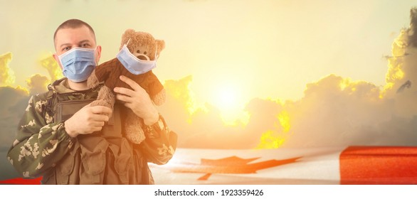 Military doctor and Canada flag on sunrise background .