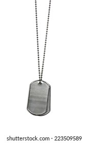 military dog tags isolated on white background
