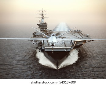 Military Drone aircraft launching from an aircraft carrier on a strike mission. 3d rendering