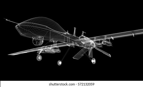 Military drone with missiles.Landing gear down. Wire render. Black background. 3d