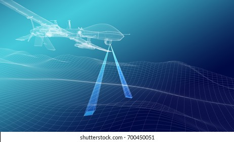 Military drone over terrain mesh. Geo-scanning. Two rays. Wire render. 3d illustration.